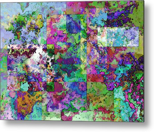 Abstract Metal Print featuring the drawing Geometrix by Debbie Portwood