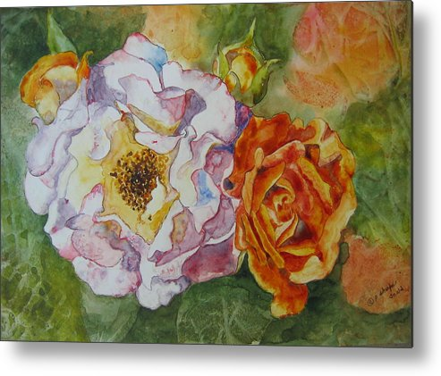 Close Focus Floral Metal Print featuring the painting Green Ice by Patsy Sharpe