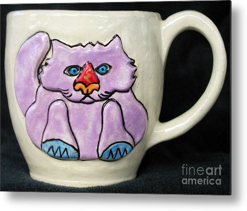 Cat Metal Print featuring the ceramic art Lightning Nose Kitty Mug by Joyce Jackson