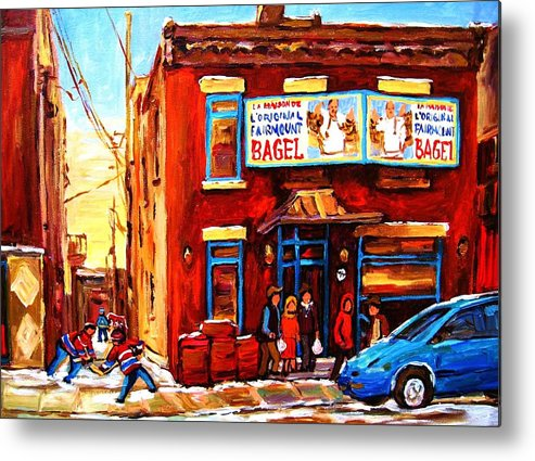 Hockey Metal Print featuring the painting Fairmount Bagel In Winter by Carole Spandau