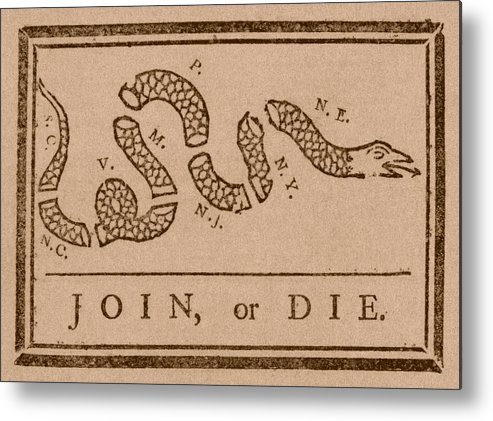 Join Or Die Metal Print featuring the drawing Join Or Die by War Is Hell Store