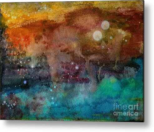 Atmospheric Metal Print featuring the painting Twilight In The Cosmos by Janet Hinshaw