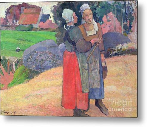 Breton Peasants Metal Print featuring the painting Breton Peasants by Paul Gauguin