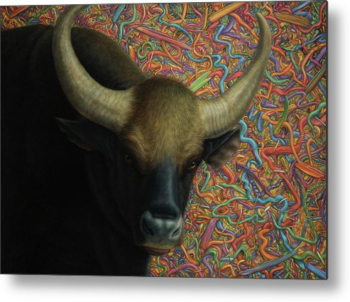 Bull Metal Print featuring the painting Bull In A Plastic Shop by James W Johnson