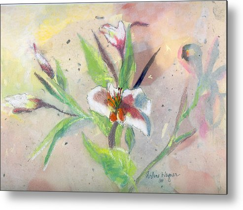 Flower Metal Print featuring the painting Faded Lilies by Arline Wagner