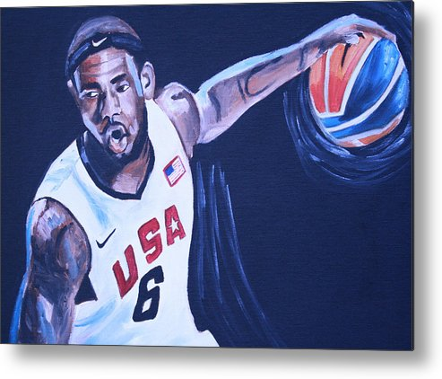 Basketball Paintings Metal Print featuring the painting Lebron James Portrait by Mikayla Ziegler