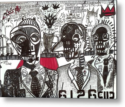 Rwjr Metal Print featuring the drawing Private Party by Robert Wolverton Jr