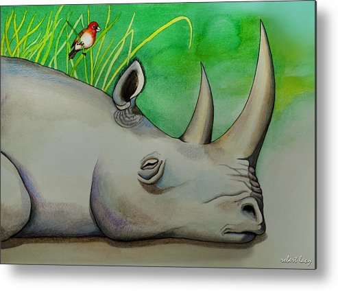 Rhinoceros Metal Print featuring the painting Sleeping Rino by Robert Lacy
