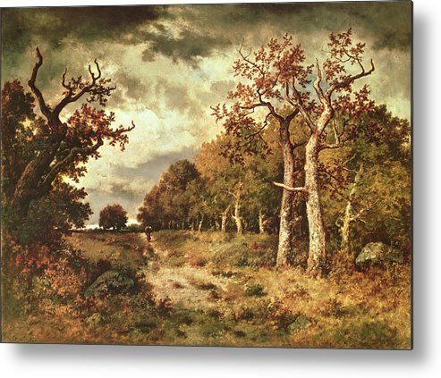 The Metal Print featuring the painting The Edge Of The Forest by Narcisse Virgile Diaz de la Pena