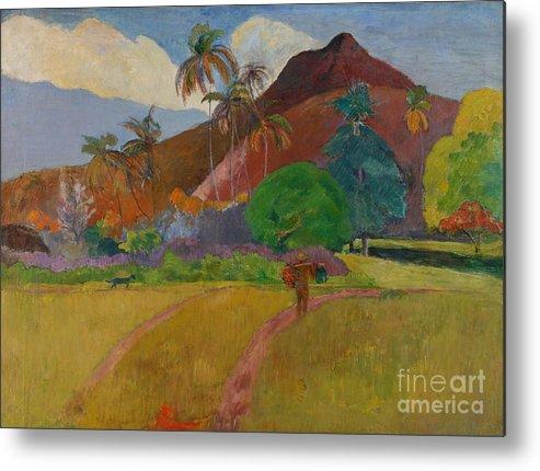 Tahiti; Tahitian; Landscape; View; Rural; Remote; French Polynesia; Mountain; Mountainous; Male; Walking; Path; Palm Tree; Trees; Tropical Metal Print featuring the painting Tahitian Landscape by Paul Gauguin
