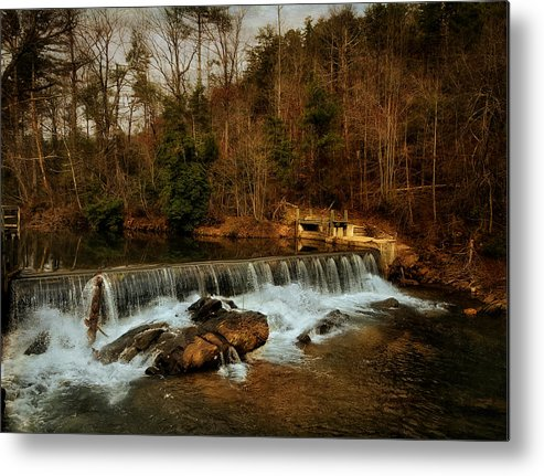 Black And White Metal Print featuring the photograph Waterfall by Mario Celzner