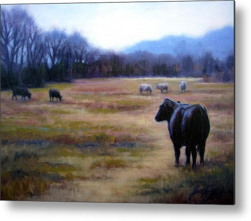 Angus Steer Metal Print featuring the painting Angus Steer In Franklin Tn by Janet King