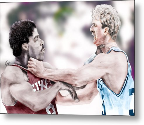 Sports Metal Print featuring the painting Clash Of The Titans 1984 - Bird And Doctor J by Reggie Duffie