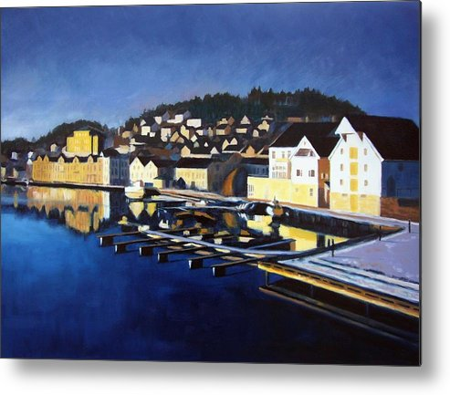 Seascape Metal Print featuring the painting Farsund In Winter by Janet King