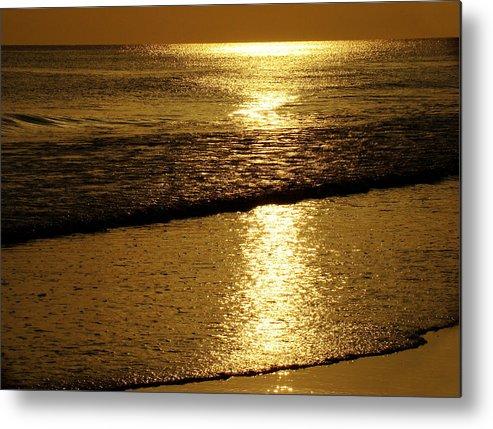 Panama City Beach Metal Print featuring the photograph Liquid Gold by Sandy Keeton