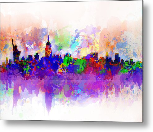 New York Metal Print featuring the painting New York Skyline Splats 3 by Bekim Art
