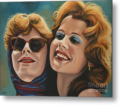 Susan Sarandon Metal Print featuring the painting Susan Sarandon And Geena Davies Alias Thelma And Louise by Paul Meijering