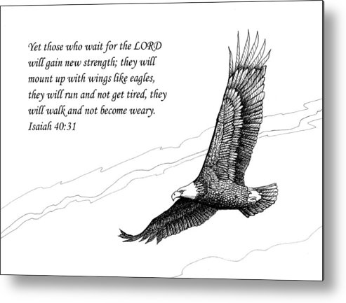 Pen And Ink Metal Print featuring the drawing Wait For The Lord by Janet King