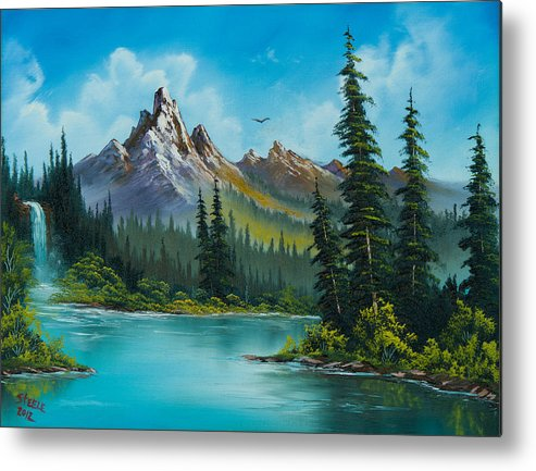 Landscape Metal Print featuring the painting Wilderness Waterfall by C Steele