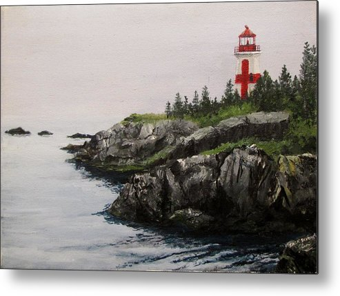 Ocean Metal Print featuring the painting Head Harbour Lighthouse by Jack Skinner