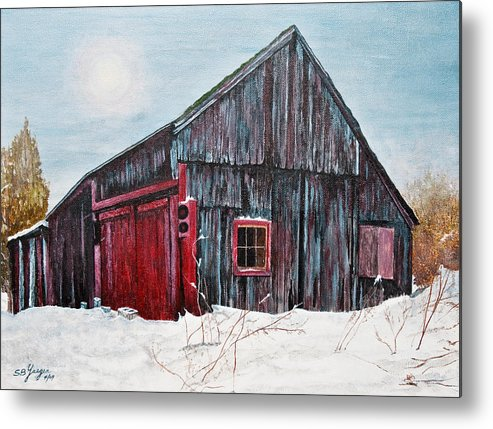 Metal Print featuring the painting Barn In Snow Southbury Ct by Stuart B Yaeger