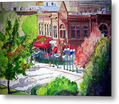 Watercolor Metal Print featuring the painting Beau Jo's by Tom Riggs