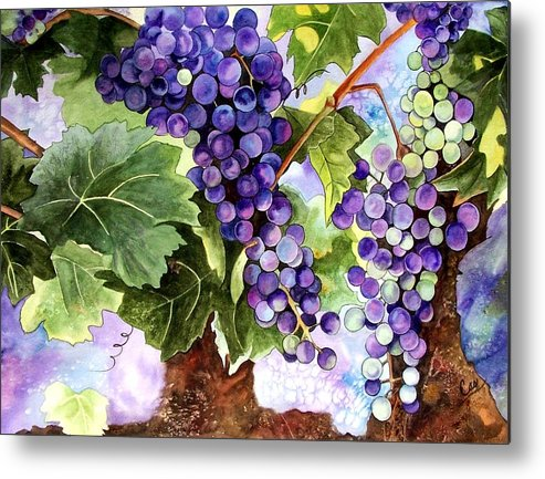 Grapes Metal Print featuring the painting Grape Vines by Karen Casciani