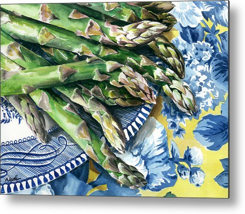 Food Metal Print featuring the painting Asparagus by Nadi Spencer
