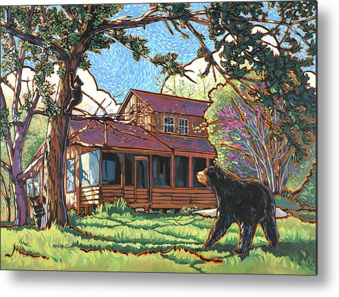 Bear Metal Print featuring the painting Bears At Barton Cabin by Nadi Spencer