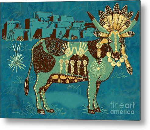 Native Metal Print featuring the digital art Cowchina by Laura Brightwood