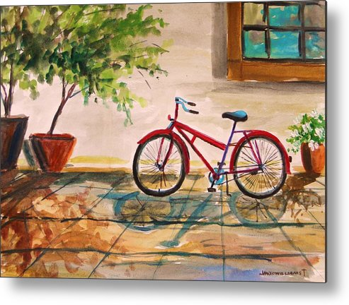 Bike Metal Print featuring the painting Parked In The Courtyard by John Williams