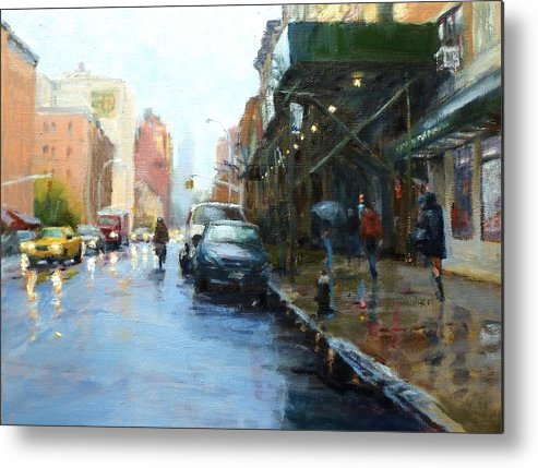 Landscape Metal Print featuring the painting Rainy Afternoon On Amsterdam Avenue by Peter Salwen