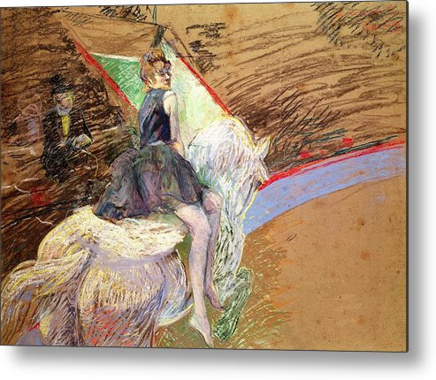 The Metal Print featuring the pastel Rider On A White Horse by Henri de Toulouse Lautrec