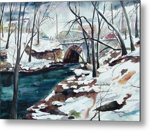 Watercolor Metal Print featuring the painting South Main Street Bridge by Scott Nelson