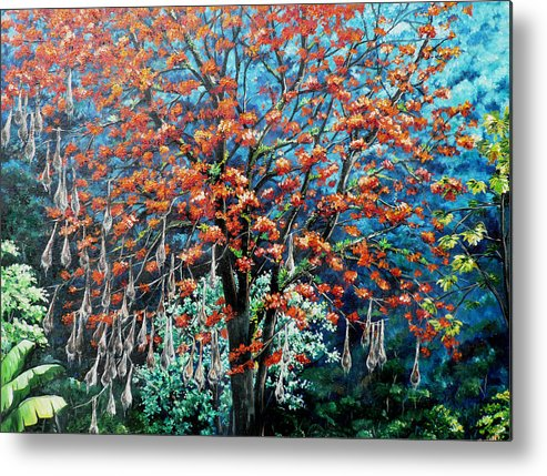 Tree Painting Mountain Painting Floral Painting Caribbean Painting Original Painting Of Immortelle Tree Painting  With Nesting Corn Oropendula Birds Painting In Northern Mountains Of Trinidad And Tobago Painting Metal Print featuring the painting The Mighty Immortelle by Karin Dawn Kelshall- Best