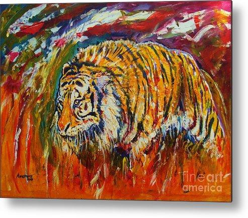 Tiger Metal Print featuring the painting Go Get Them Tiger by Anastasis Anastasi