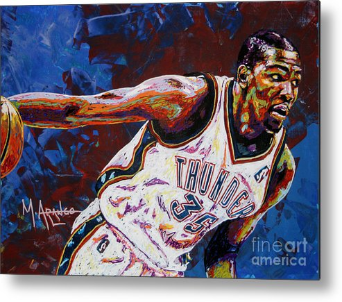 Kevin Metal Print featuring the painting Kevin Durant by Maria Arango