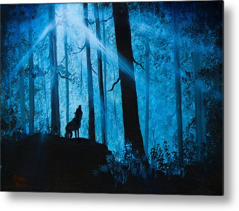 Landscape Metal Print featuring the painting Moonlight Serenade by C Steele