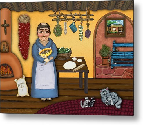 San Pascual Metal Print featuring the painting San Pascuals Kitchen 2 by Victoria De Almeida