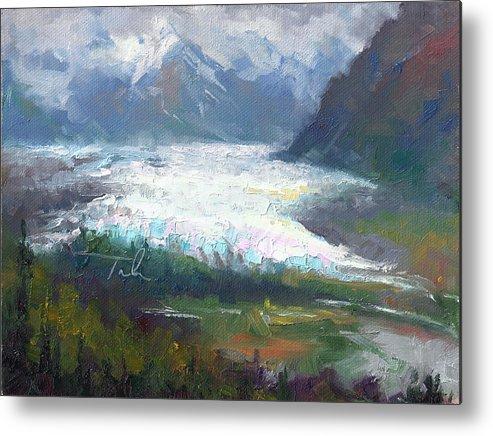 Alaska Metal Print featuring the painting Shifting Light - Matanuska Glacier by Talya Johnson