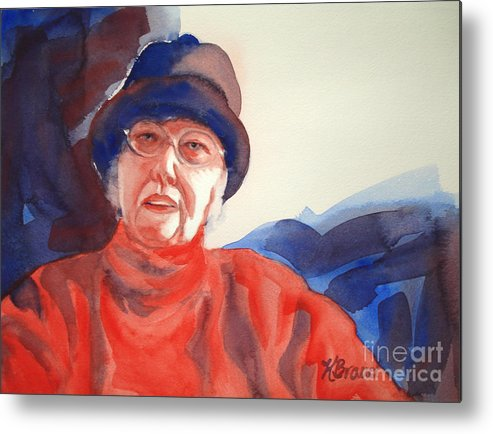 Painting Metal Print featuring the painting The Lady In Red by Kathy Braud