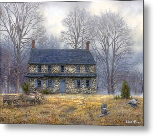 Colonial Metal Print featuring the painting The Old Farmhouse by Chuck Pinson