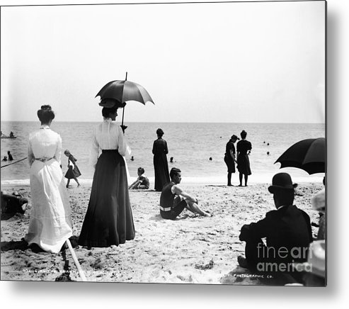 Black And White Metal Print featuring the photograph Turn Of The Century Palm Beach by LOC Science Source