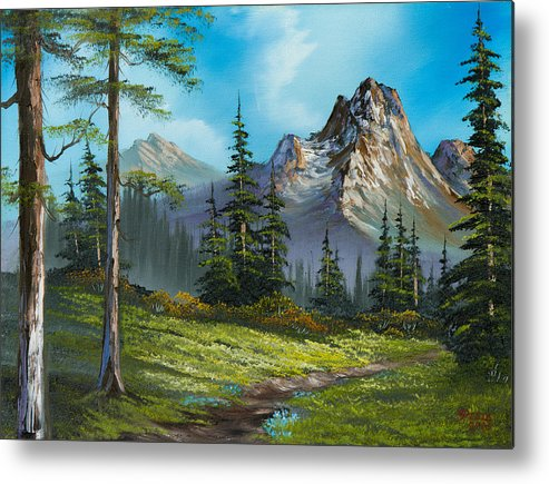Landscape Metal Print featuring the painting Wilderness Trail by C Steele