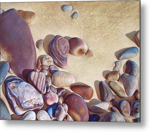 Stones Metal Print featuring the drawing Hallett Cove's Stones by Elena Kolotusha