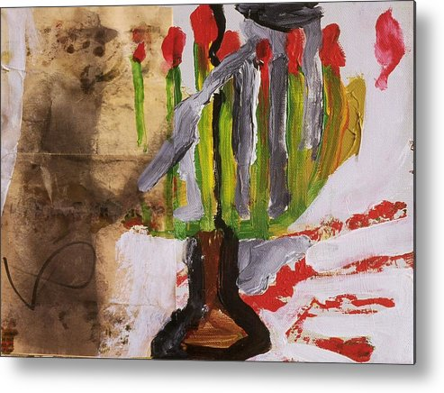 Fine Art Metal Print featuring the painting Menorah by Iris Gill