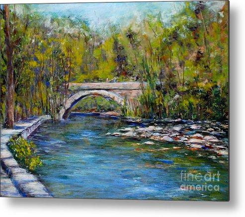 Philadelphia Metal Print featuring the pastel Bridge Over Wissahickon Creek by Joyce A Guariglia