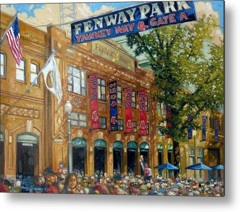 Fenway Park Metal Print featuring the painting Fenway Summer by Gregg Hinlicky
