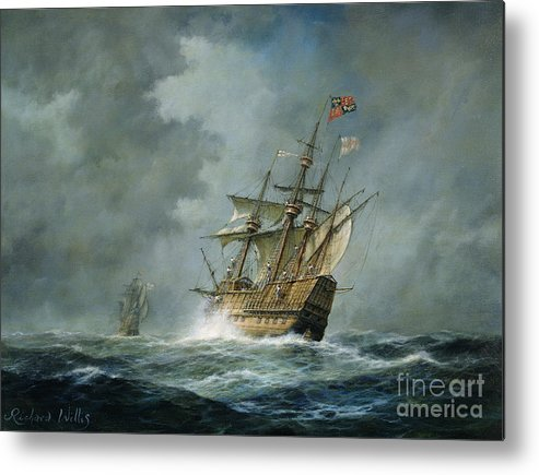 Ship; Ships; Boat; Boats; Tumultuous Seas; Stormy; Water; English Flag; Banner; Sailing; Henry Viii; Grey; Darkened; Ominous Skies; Sky; Wave; Waves; Sea Metal Print featuring the painting Mary Rose by Richard Willis