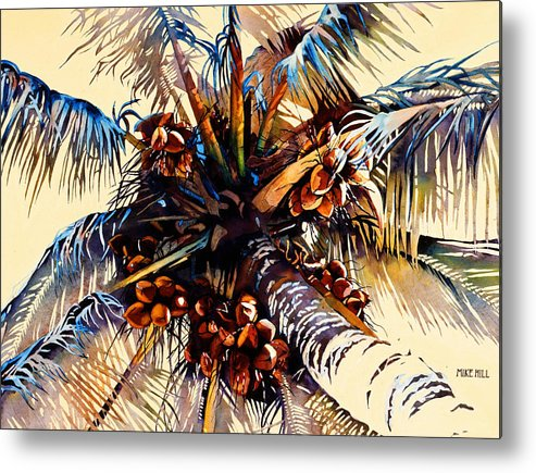 Sun Coconuts Palm Tree Breeze Wind Yellow Light Tropical Warm Hawaii Maui Hawaiian Metal Print featuring the painting Oh Nuts by Mike Hill